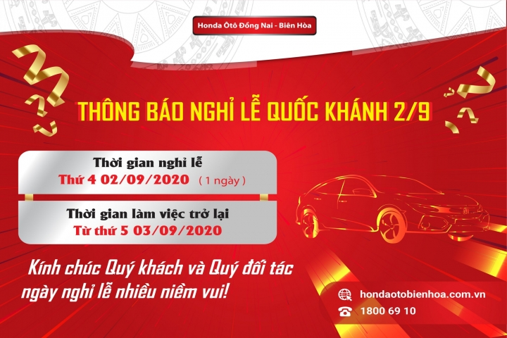Honda Ôtô Đồng Nai - Biên Hòa thông báo Lịch làm việc và nghỉ Lễ Quốc Khánh 2/9